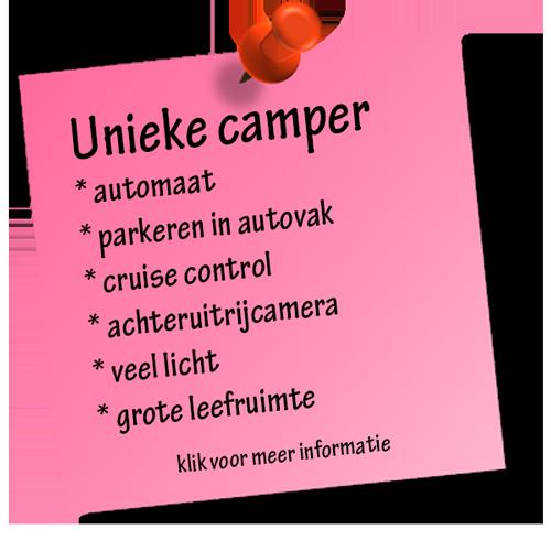 Een unieke camper met onder andere automatische versnelling en cruise control
